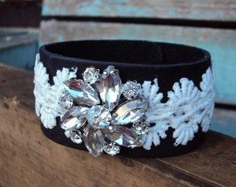 Leather and Lace Cuff Bracelet Rhinestone Glass Medallion Black Leather