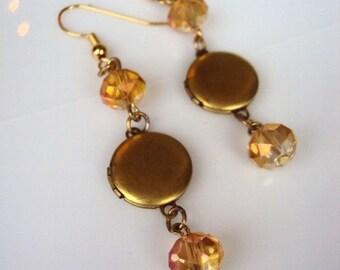 Vintage Locket Earrings Brass with Aurora  Borealis Glass Beads