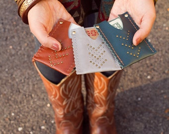 Leather Card Case Wallet Unisex Chevron Micro Rivet Detail Color Customizable Available in Over 30 Colors