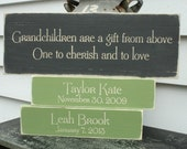 Grandparents Quote Sign with 2 Grandchildren Tiles - 8x20 Custom Personalized Painted Carved Rustic Wooden Sign