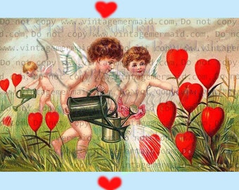 Vintage Victorian Valentines Day Cupids Hearts Fabric Quilting Fabric Blocks vdc1.
