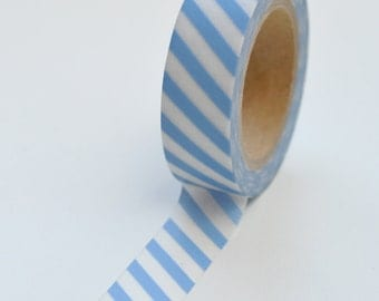 Washi Tape - 15mm - Light Blue and White Diagonal Stripe - Deco Paper Tape No. 1040