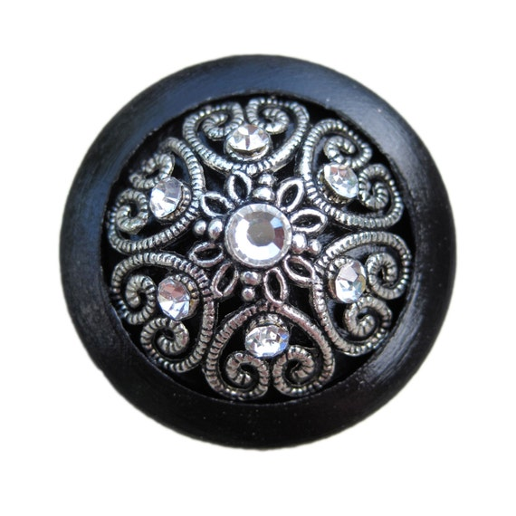 Black Wooden Drawer Knob with Metal Insert and Crystals (WK10 A)