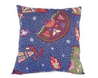 "Indonesian Batik, 16"" x 16"", Pillow Cover, Blue"