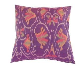 Indonesian Ikat, Pillow, Cushion, Hand Woven, Hand Dyed, 16 x 16, Purple