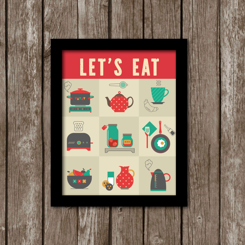SALE. Printable Kitchen Wall Art. Retro Kitchen Art. INSTANT