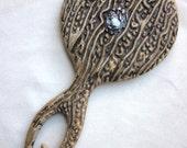 Antique Faux Bois or Antler Hand Mirror Sterling Emblem Dresser Set Piece