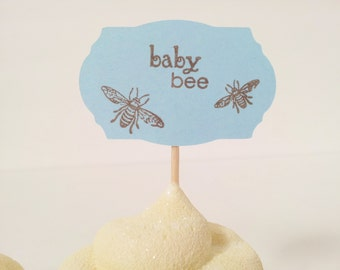 Mom and Baby Bee Cupcake Toppers Blue Its a Boy Baby Shower Toothpick Toppers Set of 12