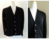 Vtg. 1950's Mens Cardigan // Black Brown Gingham Check // Hudson's Bay Company Sweater // Vneck Sweater // Knit Button Up // Made in England