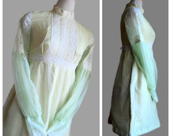 Vintage 1960's Babydoll Dress //  Yellow Green Lace Chiffon Babydoll Dress // Long Bishop Sleeve Dolly Dress
