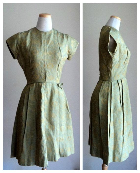 Vintage 1950's Dress // Olive Teal Brocade Cocktail Dress // Fancy Party Dress