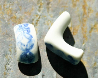 Blue China Seaglass Handles. 2 Pieces Jewelry Supply. Mosaic Supply. Lot C10