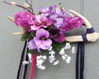 Purple Flowers and Shed Deer Antler Wallhanging