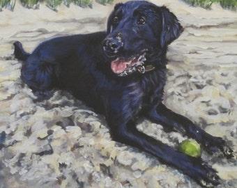 Labrador Retriever art portrait CANVAS print of LA Shepard painting 11x14 black lab