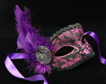 Sale!  Garnet Mask, Feathered High Fashion Mardi Gras/Costume Masquerade Mask