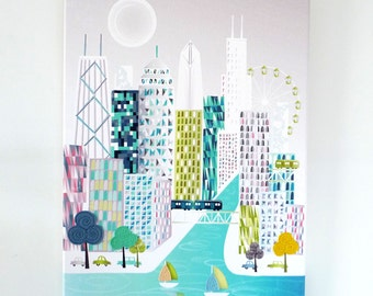 Chicago Poster Canvas, Skyline Waterfront Canvas, Large Print, Cityscape Illustration, Ferris Wheel, Home Office Wall decor, Style: LCC1