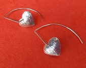 Heart Sterling Silver Earrings / silver 925 / Bali Hammered Jewelry
