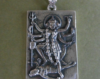 Solid Sterling Silver Kali amulet Pendant / silver 925 / Hindu Goddess - Lord of death / 1.50 inch