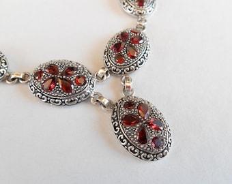 Unique sterling Silver garnet gemstones necklace / silver 925 / genuine gem / Bali jewelry / 42 garnet gemstones