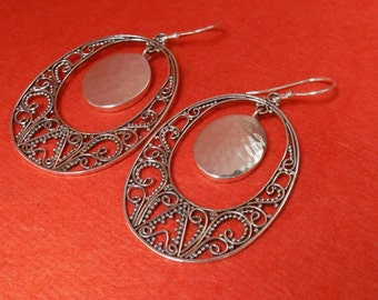 Balinese Sterling Silver dangle earrings / 2.15 inches long  / Bali handmade jewelry / silver 925