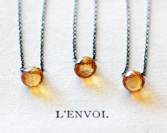 Citrine Gemstone Necklace November Birthstone on Thin Sterling Silver Chain Layering Necklaces Modern Handmade Jewelry
