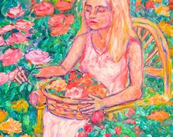 The Rose Art Original 20x16 Girl in Garden Oil Painitng by Award Winning Artist Kendall F. Kessler