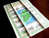 Table Cloth Towel Retro Vintage Runner Art Deco Print Irish Linen Site Map NWOT St Patricks Day
