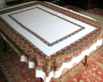 Vintage Retro Sailcloth Print Tablecloth Supple Cotton Brown Mosaic Framework