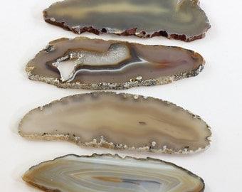Brazilian Agate Slabs Natural Light Brown Gold White Transparent Long Brazilian Agate Slabs Set of 4 - BA11