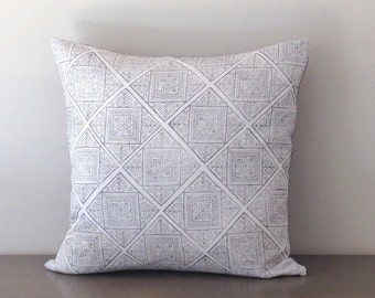 "Block Print Gray and White Linen Pillow Cover, Block Print Pillow Cover, Gray Linen Pillow Cover 20"" x 20"""
