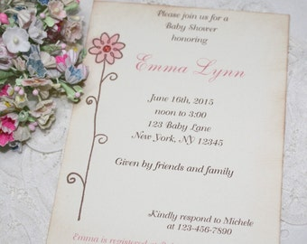 Flower Invitations - Baby Shower Invitation - Birthday - Pink Flower - Set of 10