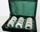 12 Genuine Onyx Vintage Napkin Rings in Original Green Velvet Box