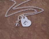 Tiny heart necklace - Small initial necklace - Silver heart jewelry - Initial and birthstone - Photo NOT actual size