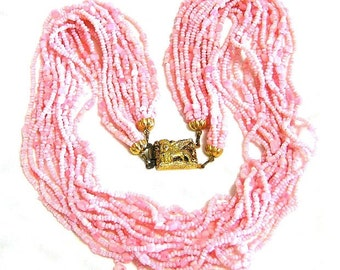Soft Pink Glass Necklace Made in Italy