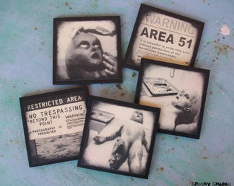 Area 51 coasters - set of 5 wooden coasters - halloween decor, aliens, Roswell, scifi,  dark decor, Science fiction, geekery, Spooky shades