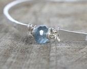 Moss Aquamarine Bracelet, Silver Hammered Bangle Bracelet, March Birthstone, Blue Aquamarine, Deep Ocean Teal Blue