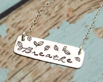 Breathe Bar Necklace Yoga Jewelry Namaste Bar Necklace Breathe Jewelry Gifts for Yoga Instructors Sterling Silver Hand Stamped Yoga Gifts