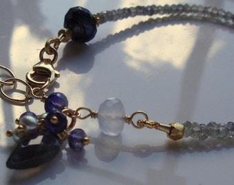 Labradorite Bracelet Blue Chalcedony Iolite Gemstone Stack Bracelet Dangle Gold Filled Bracelet Gemstone Bracelet