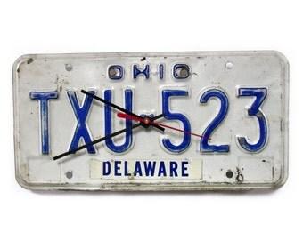 Retro Ohio License Tag Clock - Delaware OH License Plate - Vintage Wall Decor - Blue and White  - 1980 1981 1982 1983 1984