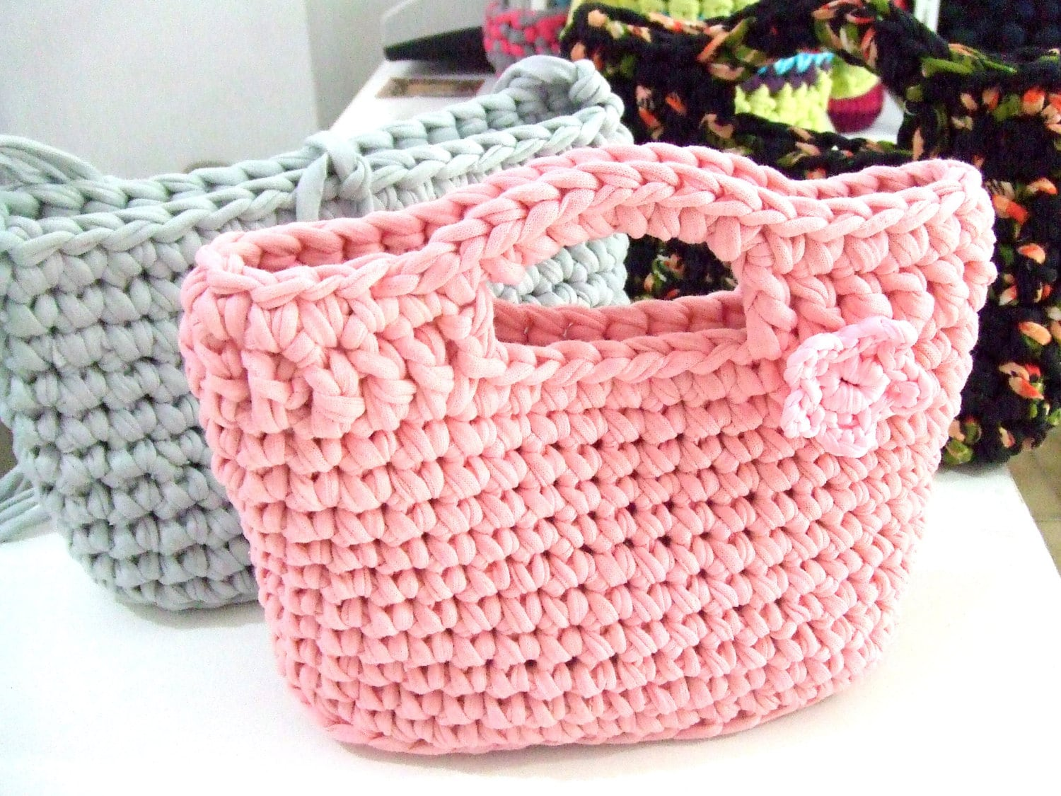 Knitting Pattern For T Bag Hat : KNITTED BAG Small bag Hand bag t-shirt yarn by southstreet