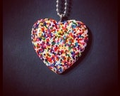 Giant Rainbow Sprinkle Heart Necklace