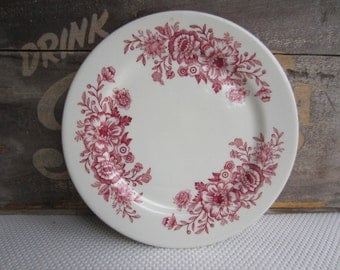 Vintage Caribe China Red Flower Transferware Restaurantware Plates set of 4
