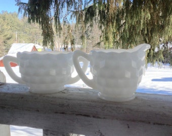 Vintage Hazel Atlas Milk Glass Sugar and Creamer Cubist Pattern