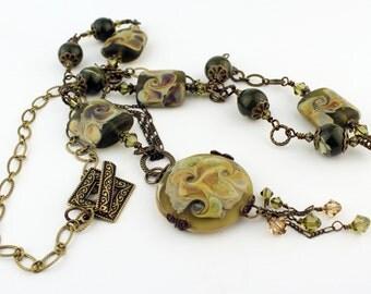 Lampwork Necklace - Antique Brass Chain - Bronze Beaded Jewelry Olive Green Gemstone Lampwork Cabochon 'Herb Garden'