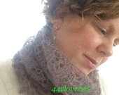 Cowl, Lace, Plant Dyed with Purple Carrots, Hand Knit with Kid Mohair and Silk, Snow Drops Lace