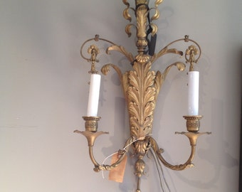 Antique Cast Brass Electric Sconce