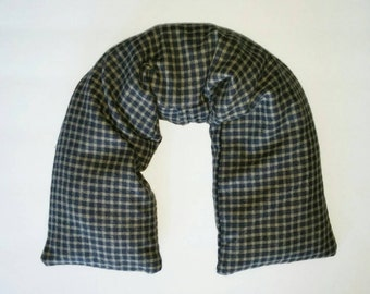Dark Blue Plaid Soft Flannel Fabric ~ Gift Idea for Headaches, neck pain, Muscles and Joint pain Hot and Cold Therapy ~ Gift for Guys 23x5