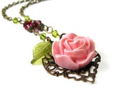 Pink Flower Necklace, Rose Pink Swarovski Crystal Floral Necklace, Fashion Jewelry, Boho Chic Gifts for Gardeners, Affordable Jewellery