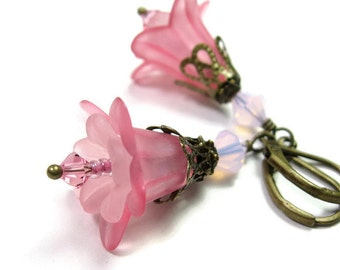 Rose Pink Swarovski Crystal Lucite Flower Dangle Earrings, Antiqued Brass Vintage Style Jewelry, Handmade Gifts for Female Gardeners