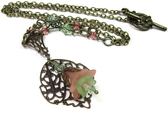Peach and Chrysolite Flower Necklace Gifts for Gardeners Pastel Necklace Vintaj Brass Floral Jewelry Woodland Garden Peach Flower Necklace